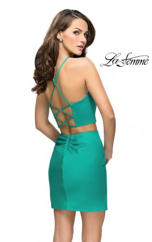 Picture of: Short Two Piece Homecoming Set with Halter Neckline, Style: 26630, Back Picture