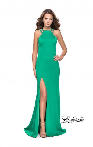 Picture of: Classic Long Evening Gown with Beaded Straps and Slit, Style: 25540, Main Picture