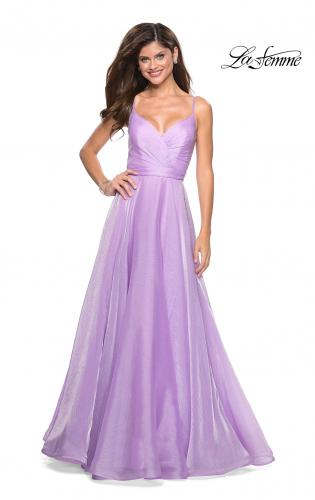 Picture of: Long Metallic Chiffon Dress with Ruching and V Back, Style: 27616, Main Picture