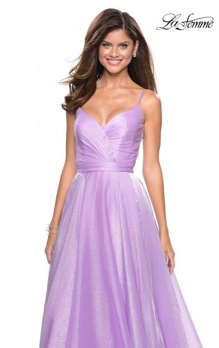 Picture of: Long Metallic Chiffon Dress with Ruching and V Back, Style: 27616, Detail Picture 1