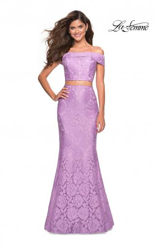 51397e8430 ... Picture of  Lace Two Piece Off the SHoulder Dress with Rhinestones