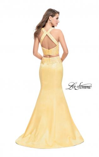 Picture of: Mikado Two Piece Mermaid Gown with Beaded Lace Top, Style: 26311, Back Picture