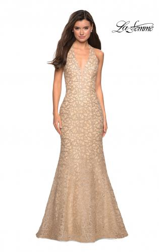 5b662cabd8e84 Picture of: Metallic Lace Halter Long Prom Dress with Open Back, Style:  27228 ...