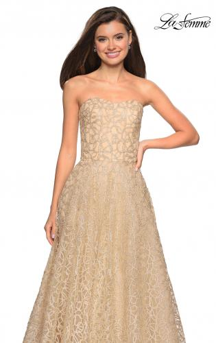 af1896a2c69f ... Picture of: Strapless A Line Ball Gown with Metallic Embroidery, Style:  27063,