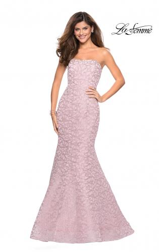 748d6b5583d ... Back Picture of  Long Mermaid Metallic Lace Strapless Prom Dress