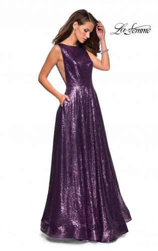 83a48a0bf27 Picture of  Fully sequin A Line Gown with Illusion Sides