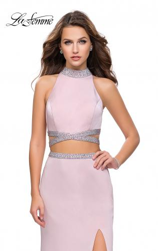 Picture of: Two Piece Prom Gown with Beaded Choker and Leg Slit, Style: 25746, Detail Picture 1