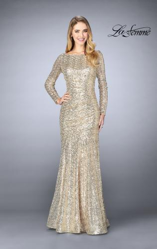 Picture of: Gathered Sequin Prom Gown With Long Sleeves, Style: 24919, Detail Picture 2