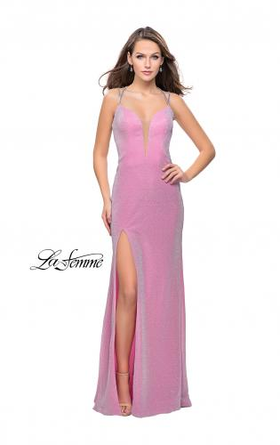 Picture of: Long Sparkling Prom Dress with Beaded Straps and Slit, Style: 25812, Detail Picture 2