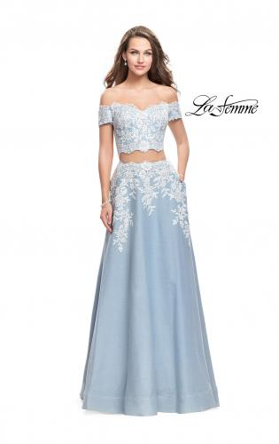 Picture of: Denim Off the Shoulder Two Piece Dress with Applique, Style: 25655, Main Picture