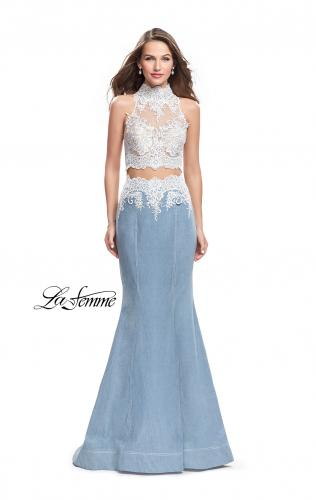 Picture of: Two Piece Long Prom Dress with Beads and Lace, Style: 25805, Main Picture