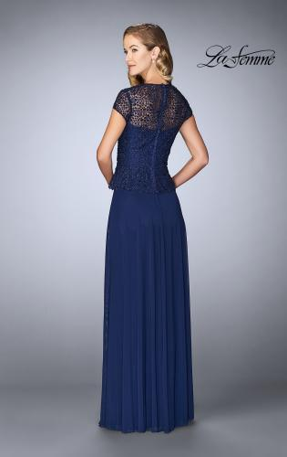 Picture of: Beaded Lace Evening Dress with Cap Sleeves and Peplum, Style: 24915, Back Picture