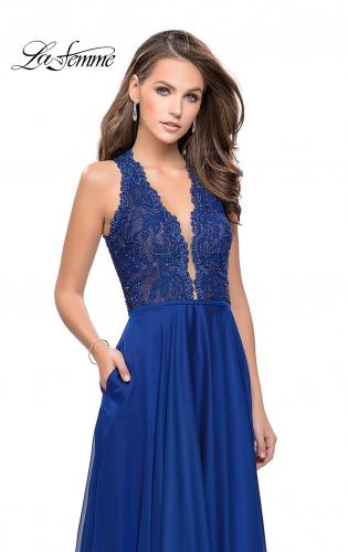 Picture of: Long A-line Dress with Chiffon Skirt and Strappy Details, Style: 25487, Main Picture