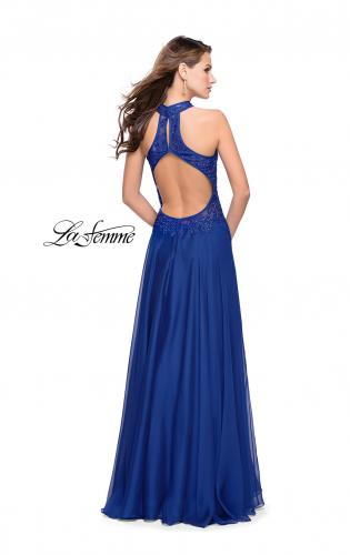Picture of: Long A line Chiffon Dress with High Neck Lace Up Top, Style: 25355, Back Picture