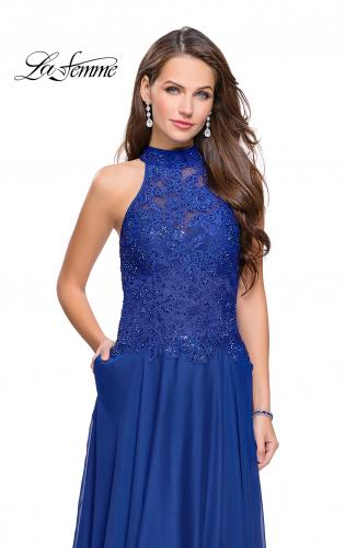 Picture of: Long A line Chiffon Dress with High Neck Lace Up Top, Style: 25355, Detail Picture 1