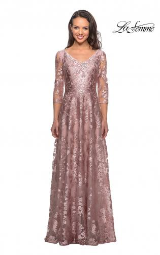 ec84392caaa Picture of  Floor Length Lace Gown with Sheer 3 4 Sleeves