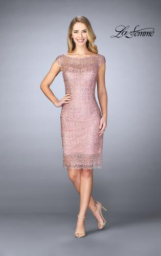 Picture of: Short Lace Dress with Sheer Top Neckline and Hem, Style: 24905, Detail Picture 1
