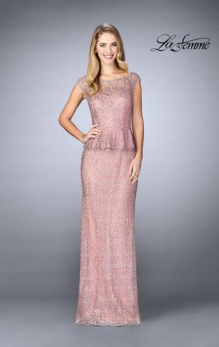 Picture of: Lace A-line Gown With Sheer Neckline and Peplum, Style: 24896, Detail Picture 2