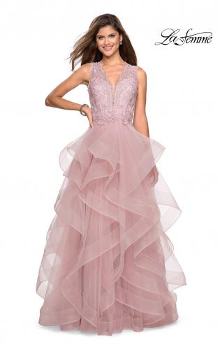 9dafe8450fa Picture of  Long Layered Tulle Dress with Lace Embellished Bodice