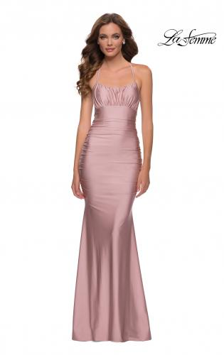 Picture of: On Trend Jersey Long Dress with Ruching on Bodice in Mauve, Style 29873, Main Picture