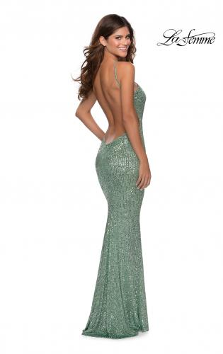 Picture of: Sequin Pyramid Neck Prom Dress with Open Back in Mint, Style: 28650, Main Picture