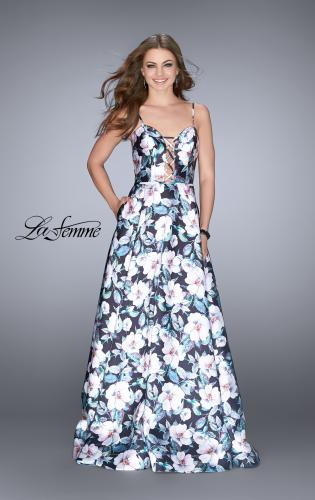 Picture of: Long Flower Print Mikado A-line Prom Dress, Style: 24717, Main Picture
