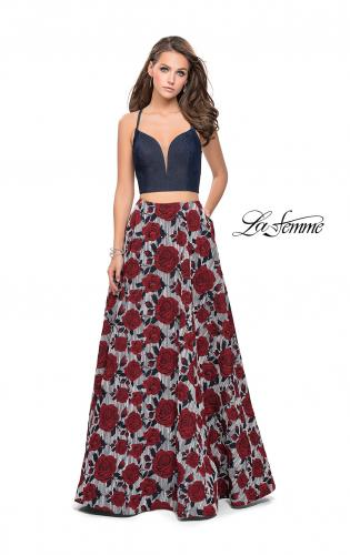 Picture of: Two Piece Denim A-line Dress with Floral Print Skirt, Style: 25789, Main Picture