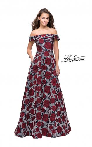 Picture of: Off the Shoulder A-line Gown with Floral Print, Style: 25790, Main Picture
