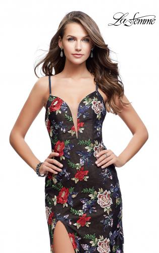 Picture of: Floral Print Prom Gown with Plunging Neckline and Leg Slit, Style: 25900, Main Picture