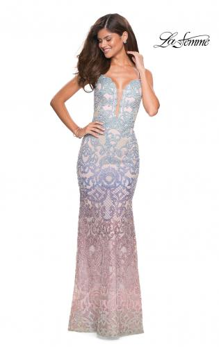 3e6cfa1d71c4 Picture of: Floor Length Fully Beaded Rainbow Ombre Prom Gown, Style:  27609, ...