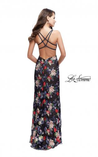 Picture of: Floral Print Prom Gown with Plunging Neckline and Leg Slit, Style: 25900, Back Picture