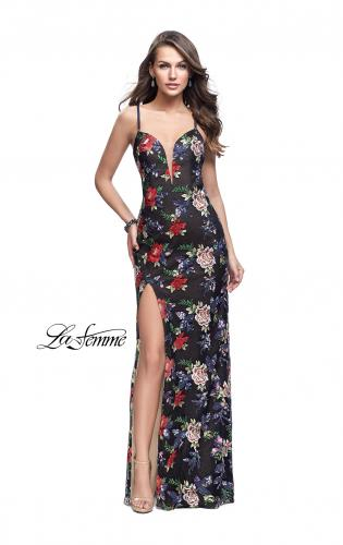 Picture of: Floral Print Prom Gown with Plunging Neckline and Leg Slit, Style: 25900, Detail Picture 1