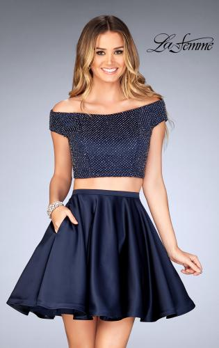 Picture of: Fully Beaded Off the Shoulder Two Piece Dress, Style: 25120, Main Picture