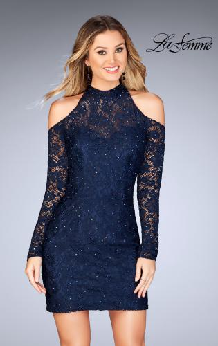 Picture of: Short Lace Dress with Shoulder Cut Outs and Open Back, Style: 25170, Main Picture