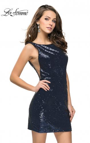 Picture of: Sequin Short Mini Dress with Low Scoop Back, Style: 26614, Main Picture