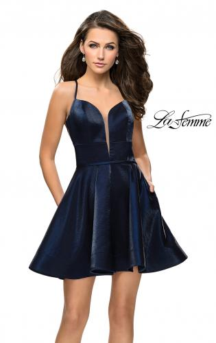 Picture of: Fit and Flare Satin Short Dress with Deep Neckline, Style: 26659, Main Picture