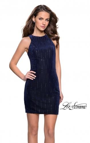 Picture of: Velvet Homecoming Dress with Scattered Rhinestones, Style: 26789, Main Picture