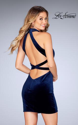 Picture of: High Neck Velvet Dress with Open Back, Style: 25032, Back Picture
