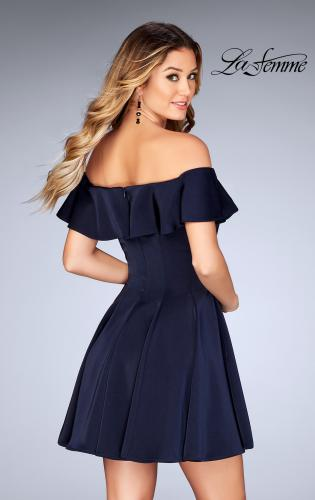 Picture of: A-line Short Satin Dress with Off the Shoulder Detail, Style: 25070, Back Picture