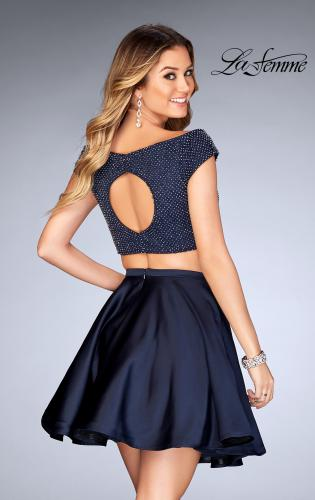 Picture of: Fully Beaded Off the Shoulder Two Piece Dress, Style: 25120, Back Picture