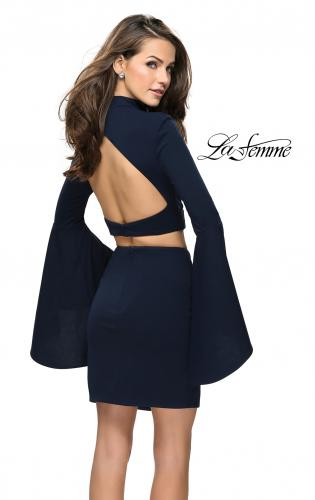 Picture of: Two Piece Bell Sleeve Jersey Dress with Open Back, Style: 26621, Back Picture