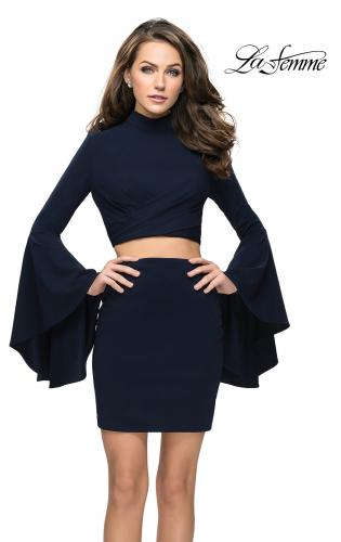 Picture of: Two Piece Bell Sleeve Jersey Dress with Open Back, Style: 26621, Detail Picture 1