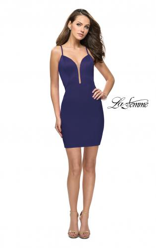 Picture of: Form Fitting Homecoming Dress with Strappy Open Back, Style: 26638, Detail Picture 1