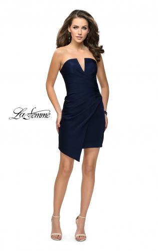 Picture of: Strapless Jersey Short Dress with Asymmetrical Skirt, Style: 26669, Detail Picture 1