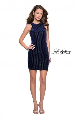 Picture of: Velvet Homecoming Dress with Scattered Rhinestones, Style: 26789, Detail Picture 1