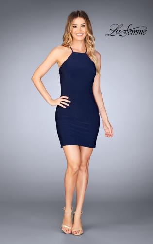 Picture of: Short Halter Homecoming Dress with Criss Cross Back, Style: 25141, Detail Picture 2