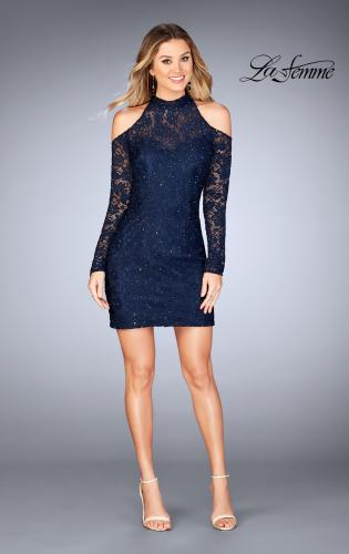 Picture of: Short Lace Dress with Shoulder Cut Outs and Open Back, Style: 25170, Detail Picture 2