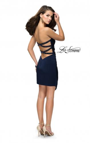 Picture of: Strapless Jersey Short Dress with Asymmetrical Skirt, Style: 26669, Detail Picture 2