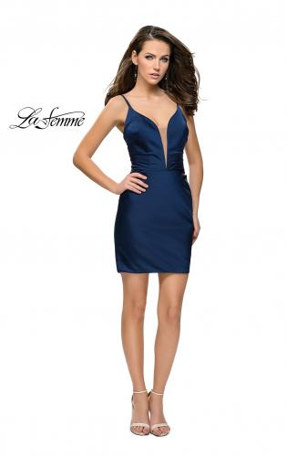 Picture of: Elegant Satin Homecoming Dress with Cut Out Back Detailing, Style: 26722, Detail Picture 2