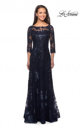 c813667d82 Picture of  Long Lace Dress wuth Sequins and Sheer 3 4 Sleeves